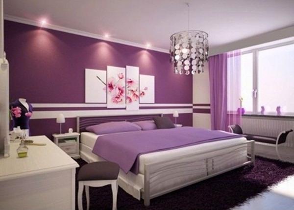 màu tím nhạt kết hợp màu trắng của son tuong làm căn phòng thật lộng lẫy và sang trọng